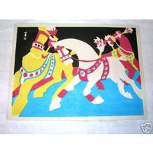 川西英: Circus Horses - Japanese Art Open Database