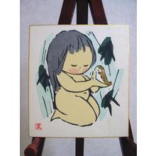 河野薫: Baby girl and bird - Japanese Art Open Database