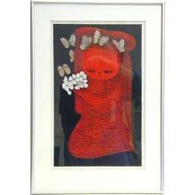 河野薫: Child with flowers and butterflies - Japanese Art Open Database