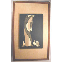 Kawano Kaoru: Doves and Girl - Japanese Art Open Database