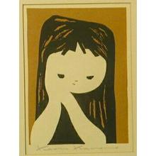 Kawano Kaoru: Girl clasping hands - Japanese Art Open Database