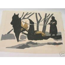 Kawano Kaoru: Horse pulling sled - Japanese Art Open Database
