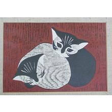 Kawano Kaoru: Two kittens - Japanese Art Open Database