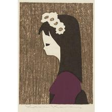 Kawano Kaoru: Unknown- girl with flowers in hair - Japanese Art Open Database