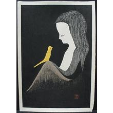 Kawano Kaoru: Woman and bird, Yellow canary - Japanese Art Open Database