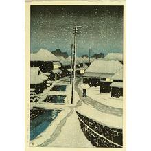 川瀬巴水: Evening Snow at Terajima Village - Japanese Art Open Database