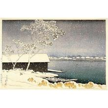 Kawase Hasui: Snow at Shirahige Bridge - Japanese Art Open Database