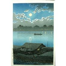 川瀬巴水: MOONLIGHT ON ARAKAWA RIVER, AKABANE - Japanese Art Open Database