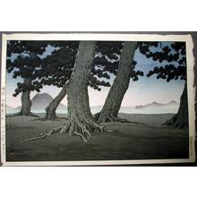 川瀬巴水: Teranohama, Sanuki Coast- Kaiganji Beach - Japanese Art Open Database