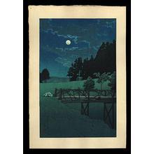 Kawase Hasui: Moon over Akebi Bridge - Japanese Art Open Database