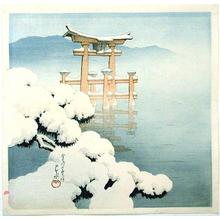 川瀬巴水: Lingering Snow at Miyajima - Japanese Art Open Database