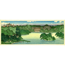川瀬巴水: Panoramic view of Iwasaki Family Villa — 大泉水の全景 - Japanese Art Open Database