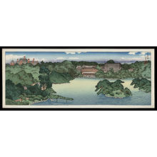 川瀬巴水: Panoramic view of Iwasaki Family Villa — 大泉水の全景 - Japanese Art Open Database