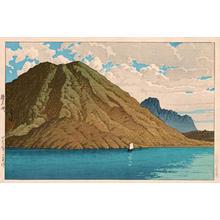 川瀬巴水: Autumn at the crater lake of the Haruna volcano — 榛名湖 - Japanese Art Open Database