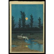 川瀬巴水: Evening Moon at Nakanoshima Park- Sapporo - Japanese Art Open Database