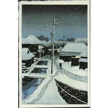 川瀬巴水: Evening Snow at Terajima - Japanese Art Open Database
