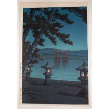 川瀬巴水: Evening at Miyajima (oban) - Japanese Art Open Database
