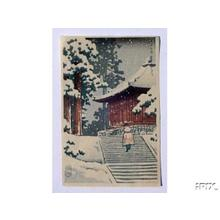 川瀬巴水: Hiraizumi Konjikido Snow - Japanese Art Open Database