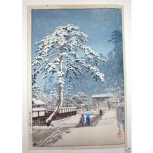 川瀬巴水: Ikegami Honmonji (Honmonji Temple in Snow) - Japanese Art Open Database