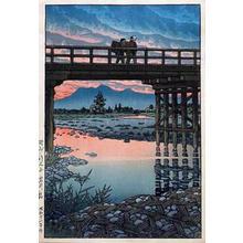 川瀬巴水: Iwai Bridge, Nozu Sakuyama — 佐久山岩井橋 - Japanese Art Open Database