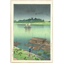 Kawase Hasui: May Rain- Arakawa — 五月雨(荒川) - Japanese Art Open Database