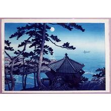 Kawase Hasui: Moon at Goura, Ibaragi- Isura- Izura - Japanese Art Open Database