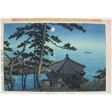 Kawase Hasui: Moon at Goura, Ibaragi- Isura- Izura - Japanese Art Open Database