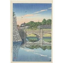 川瀬巴水: Morning at Nijubashi Bridge - Japanese Art Open Database