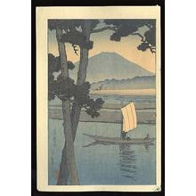 川瀬巴水: Mount Fuji with Sail Boat - Japanese Art Open Database