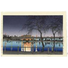 Kawase Hasui: Night at the Pond Edge- Shinobazu Pond — 夜の池畔(不忍池) - Japanese Art Open Database
