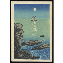 川瀬巴水: Night moon sailboat sea - Japanese Art Open Database