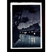 Kawase Hasui: Rainy Night at Maekawa — 相州前川の雨 - Japanese Art Open Database