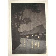 川瀬巴水: Rainy Night at Maekawa — 相州前川の雨 - Japanese Art Open Database