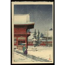 川瀬巴水: Snow at Nezugongen Shrine — Nezu Gongen no Yuki - Japanese Art Open Database