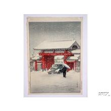 川瀬巴水: Snow at Shiba Daimon - Japanese Art Open Database