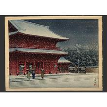 Kawase Hasui: Snow at Zojoji Temple — 増上寺の雪 - Japanese Art Open Database
