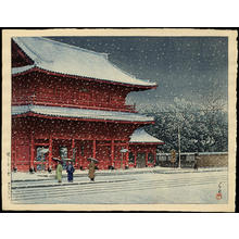 川瀬巴水: Snow at Zojoji Temple — 増上寺の雪 - Japanese Art Open Database
