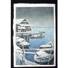 Kawase Hasui: Snowstorm at Mukojima — Yuki no Mukojima - Japanese Art Open Database