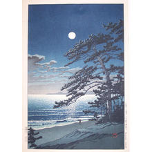 川瀬巴水: Spring Moon at Ninomiya Beach - Japanese Art Open Database