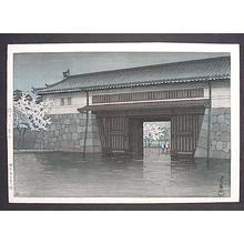 川瀬巴水: Spring Rain at Sakurada Gate, Tokyo - Japanese Art Open Database