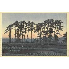 川瀬巴水: Sunset at Ichinokura, Ikegami — 池上市之倉(夕陽) - Japanese Art Open Database