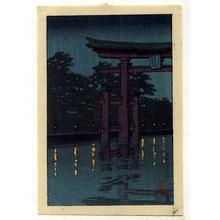 Kawase Hasui: Unknown- Torii at night - Japanese Art Open Database