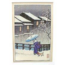 Kawase Hasui: Unknown, snow dog - Japanese Art Open Database