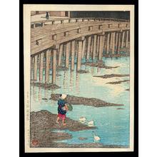 川瀬巴水: Gion bashi bridge, Asakusa - Japanese Art Open Database