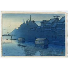 川瀬巴水: Morning at Dotonbori- Osaka - Japanese Art Open Database
