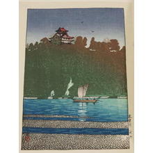 川瀬巴水: Kiso River- at Inuyama — 木曽川 - Japanese Art Open Database