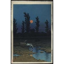 Kawase Hasui: Evening Moon at Nakanoshima Park- Sapporo - Japanese Art Open Database