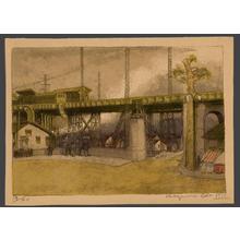 織田一磨: Gotanro - An suburban elevated train station - Japanese Art Open Database