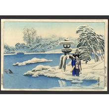 Oda Kazuma: A snowy day at a garden in Kyoto - Japanese Art Open Database
