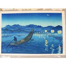 Oda Kazuma: Unknown, night lake sea boat moon - Japanese Art Open Database
